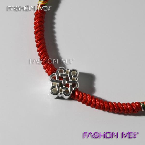 中国结红绳编织手链 五行金丝