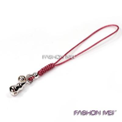 925纯银手工编织红绳手机链 空心小葫芦