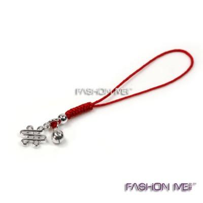925纯银手工编织红绳手机链 小铃铛中国结